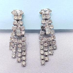 Vintage 1960's Rhinestone Dangle Clip-On Earrings